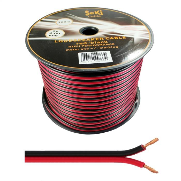 Lautsprecherkabel 100m - 2x4mm² - 100% CCA Kupfer ; Audiokabel - rot/schwarz