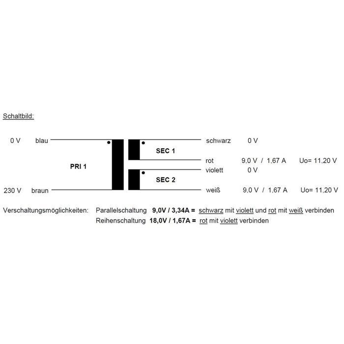 Ringkerntrafo 30VA 230V -> 2x9V 1x18V , Sedlbauer. RSO-826007
