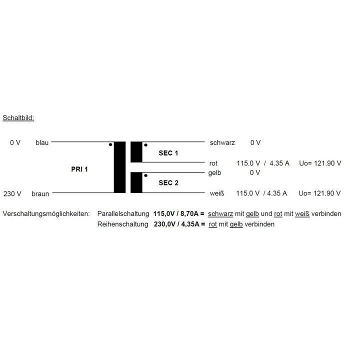 Ringkerntrafo Transformator 1000VA 230V 2x115V 230V Sedlbauer RTO-826073