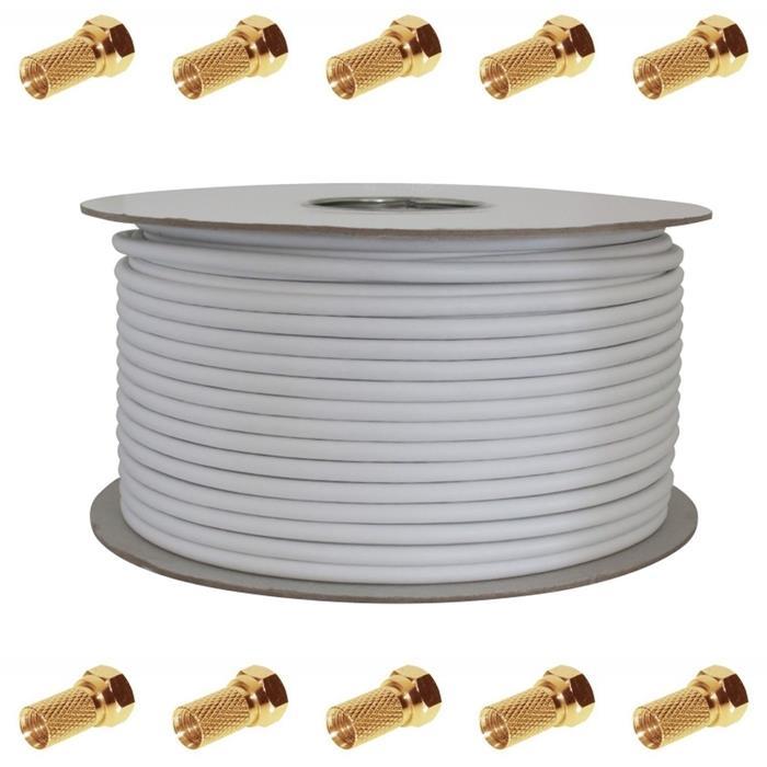 100m Sat Koax Kabel 130dB 4x geschirmt ; Koaxialkabel Antennenkabel 3D HD