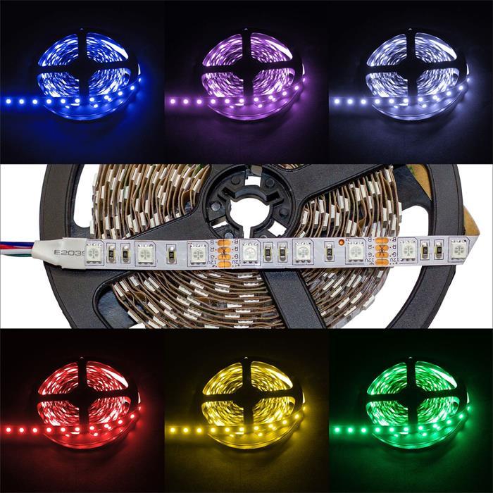5m (500cm) RGB LED Streifen Band Leiste 12V IP20 300LEDs 60LED/m SMD5050
