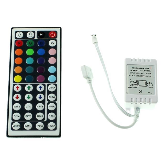 RGB LED IR Controller Remote Steuerung + 44Key Fernbedienung 72W 12V 6A