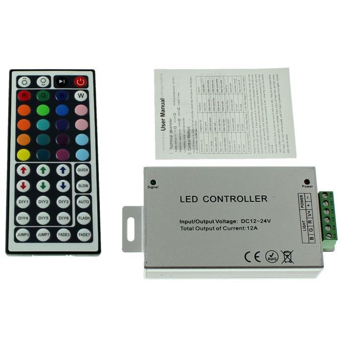 RGB LED IR Controller Remote Steuerung + 44Key Fernbedienung 12...24V 12A
