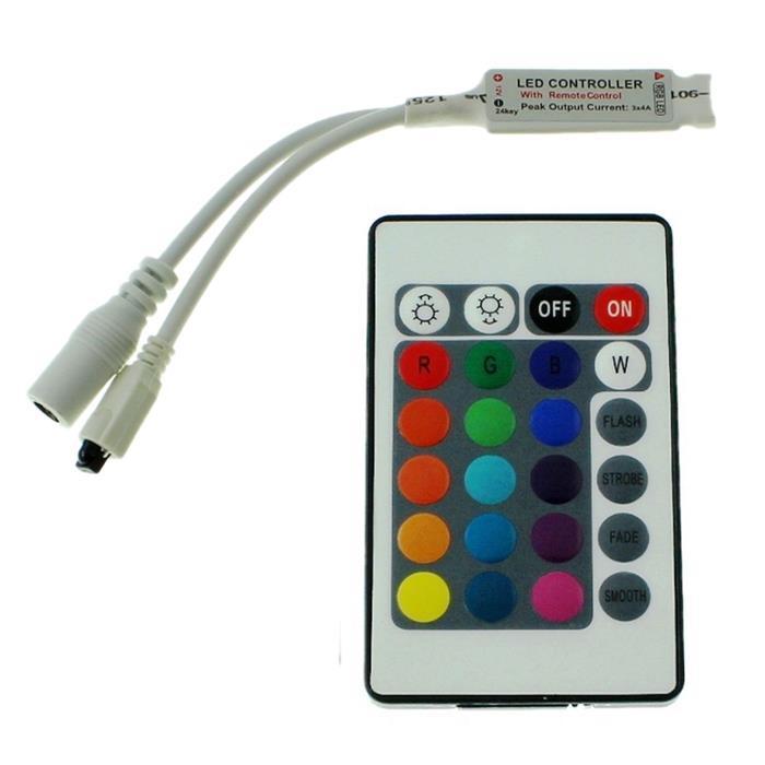 Mini RGB LED IR Controller Remote Steuerung + 24Key Fernbedienung 72W 12V 6A