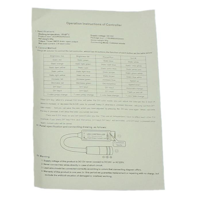Mini RGB LED IR Controller Remote Steuerung + 44Key Fernbedienung 72W 12V 6A