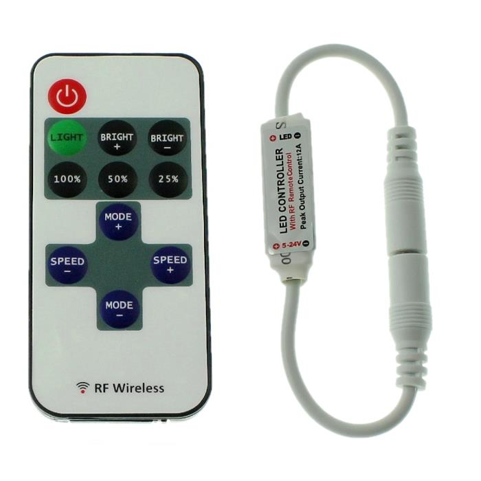 Mini LED RF Controller + 10Key Fernbedienung 144W 12...24V 6A Plug + Play