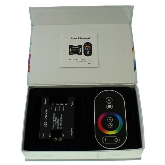 RGB RF Touch Controller Remote Schwarz + 6Key Fernbedienung 12...24V 18A