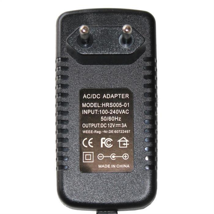 Steckernetzteil 36W 12V 3A ; EU-Plug 5,5/2,1mm ; Schaltnetzteil