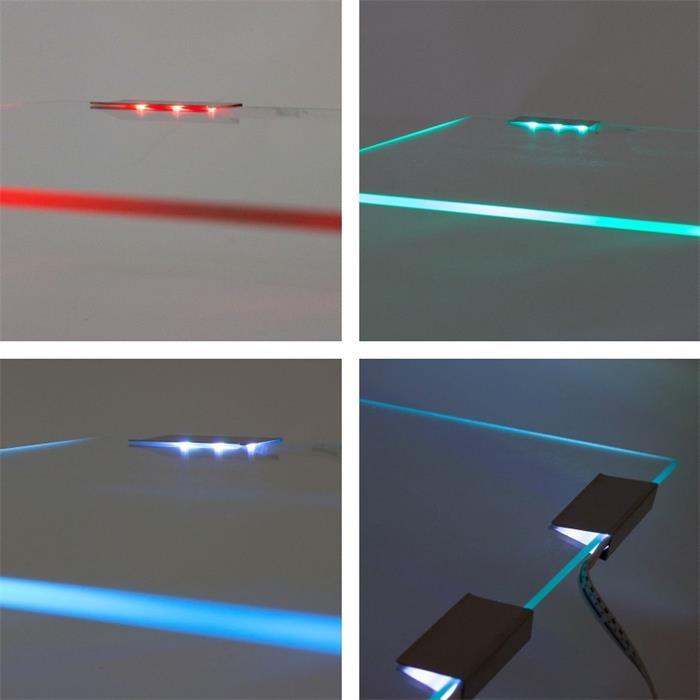 RGB Glaskantenbeleuchtung Clip + 2m Kabel 3x LED5050 Schrank und Vitrinenbeleuchtung