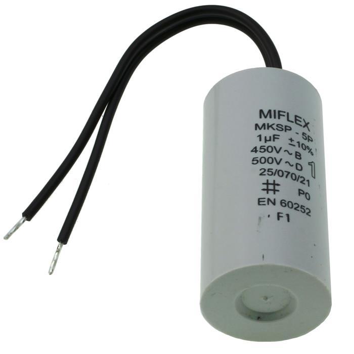Anlaufkondensator Motorkondensator 1µF 450V 25x51mm Kabel 10cm Miflex 1uF