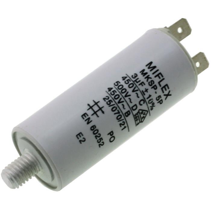 AnlaufKondensator MotorKondensator 3µF 450V 25x58mm Stecker M8 ; Miflex ; 3uF
