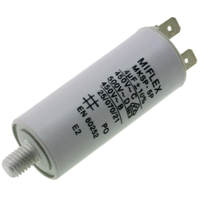 AnlaufKondensator MotorKondensator 4µF 450V 30x58mm Stecker M8 ; Miflex ; 4uF