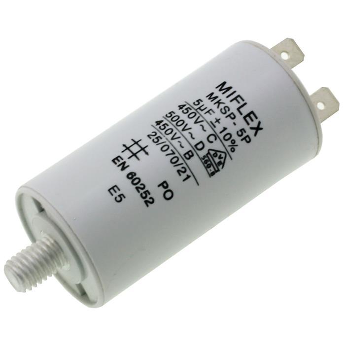Anlaufkondensator Motorkondensator 5µF 450V 30x58mm Stecker 6,4x0,8mm Miflex 5uF