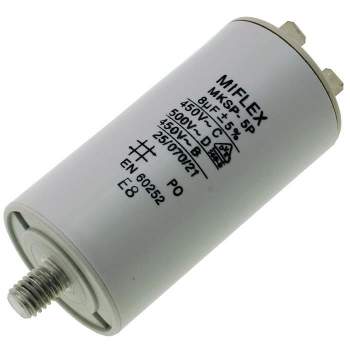 Anlaufkondensator Motorkondensator 8µF 450V 35x65mm Stecker 6,4x0,8mm Miflex 8uF