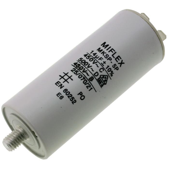 Anlaufkondensator Motorkondensator 14µF 450V 35x83mm Stecker 6,4x0,8mm Miflex 14uF