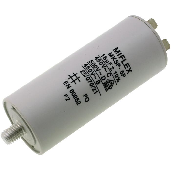 Anlaufkondensator Motorkondensator 16µF 450V 35x83mm Stecker 6,4x0,8mm Miflex 16uF