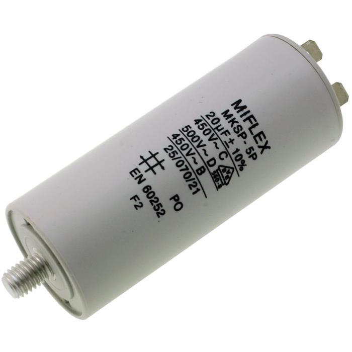 AnlaufKondensator MotorKondensator 20µF 450V 40x83mm Stecker M8 ; Miflex ; 20uF