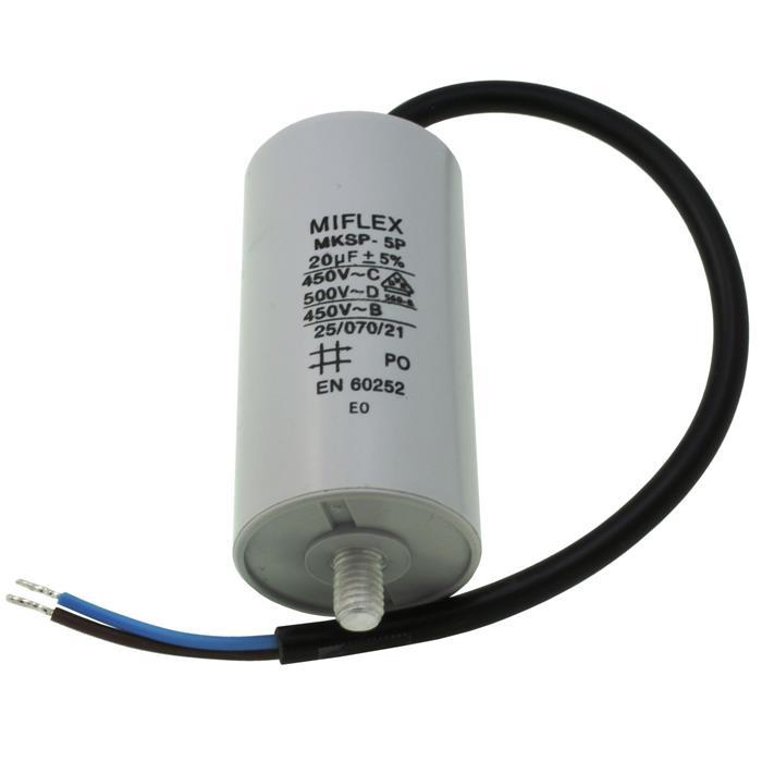 Anlaufkondensator Motorkondensator 20µF 450V 40x78mm Kabel 25cm Miflex 20uF