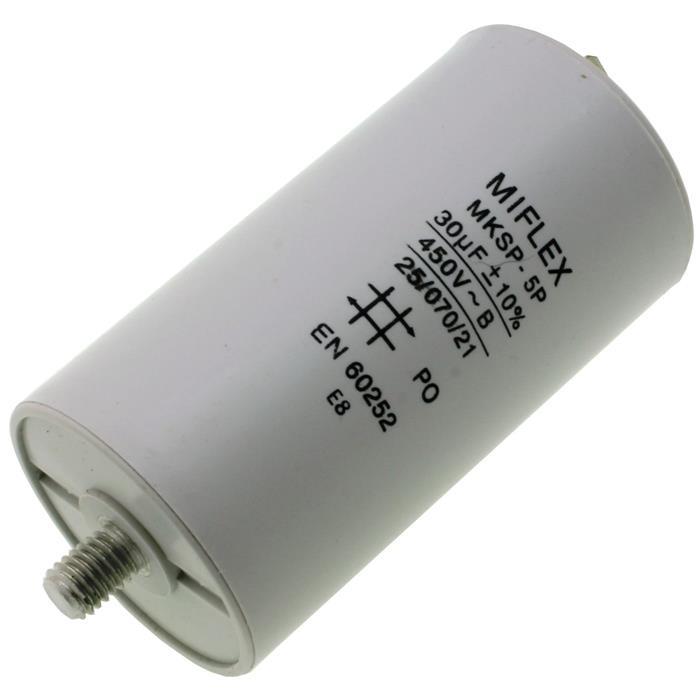 Anlaufkondensator Motorkondensator 30µF 450V 45x83mm Stecker 6,4x0,8mm Miflex 30uF