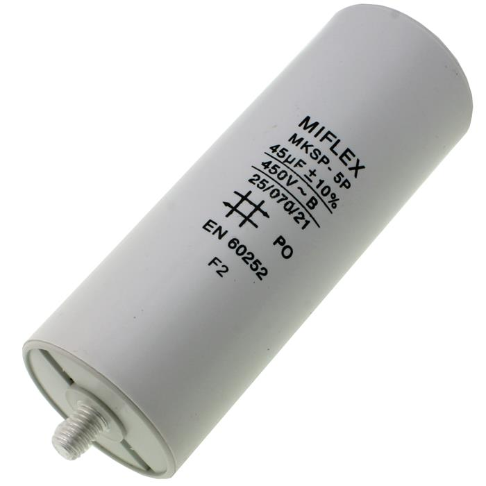 AnlaufKondensator MotorKondensator 45µF 450V 45x119mm Stecker M8 ; Miflex ; 45uF