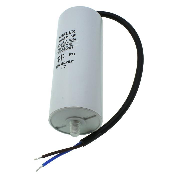 AnlaufKondensator MotorKondensator 55µF 450V 50x119mm Leitung M8 ; Miflex ; 55uF