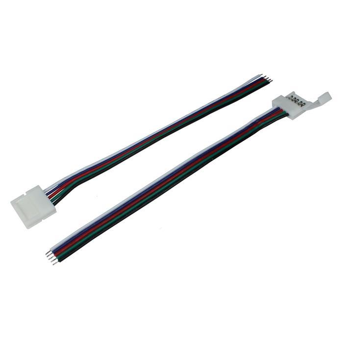 Verbinder / Connector für RGBW RGB+W 12mm LED-Streifen ; 1 Clip + 1 Kabel