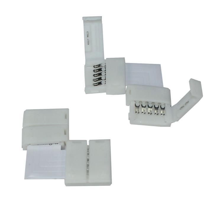 Verbinder / Connector für RGBW RGB+W 12mm LED-Streifen ; L - Verbinder ; 90° Eck