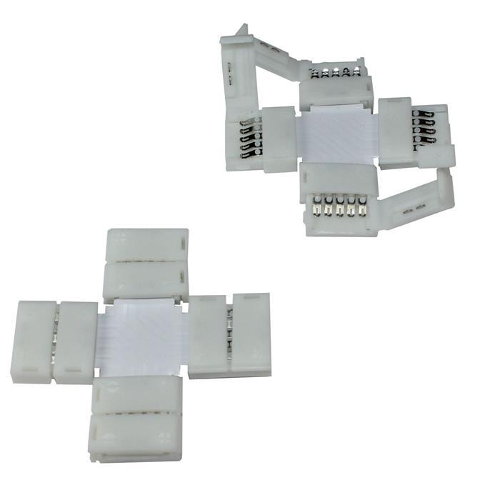 Verbinder / Connector für RGBW RGB+W 12mm LED-Streifen ; + Profil ; + Verbinder