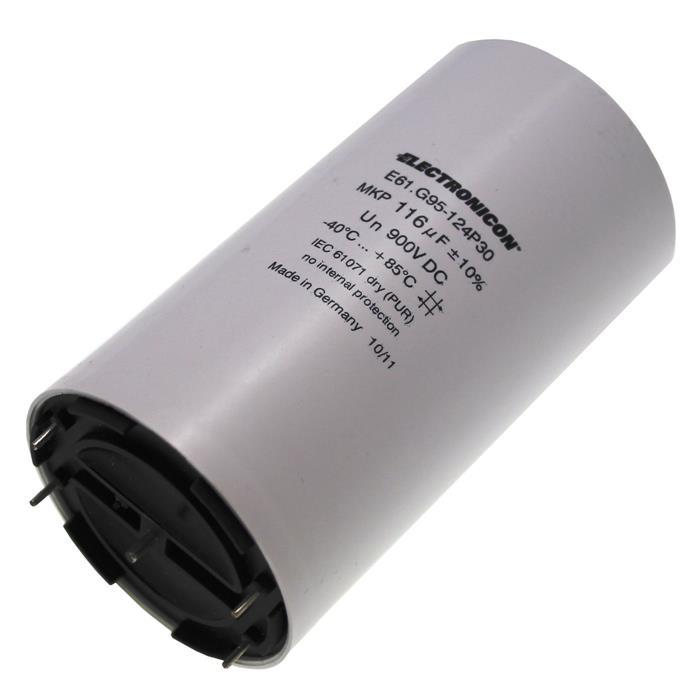MKP-Kondensator 116µF 900V DC 50x93mm ; Electronicon E61G95124P30 ; 116uF