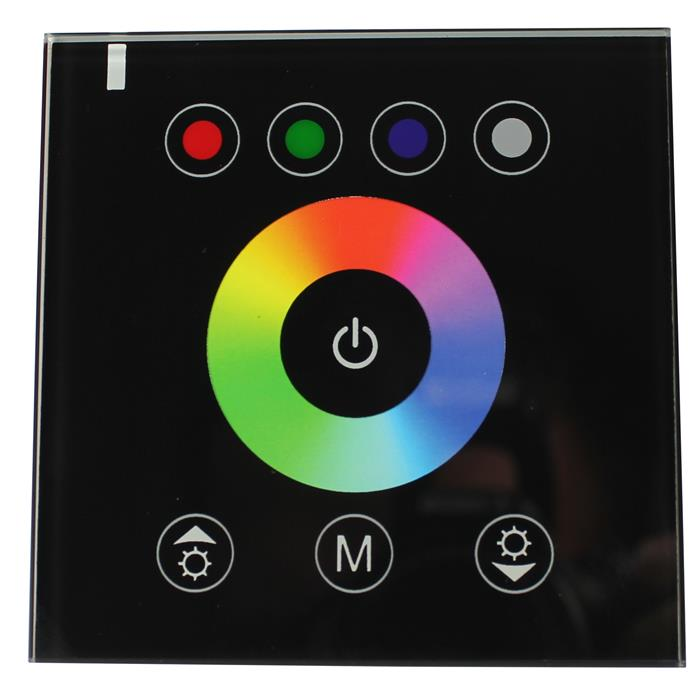 RGBW LED Wand Touch Panel Controller 12...24V 384W Glas Design Optik für Farbwechsel Streifen 5-Pin