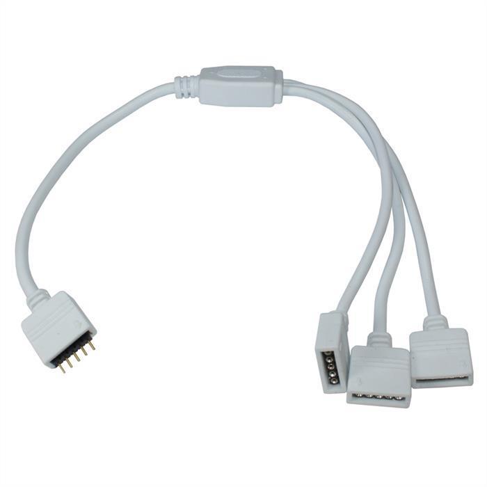 1 zu 3 RGBW LED Verteiler Steckverbinder 30cm 5 Pin Buchse -> 3x 5 Pin Buchse 16x6mm Weiß