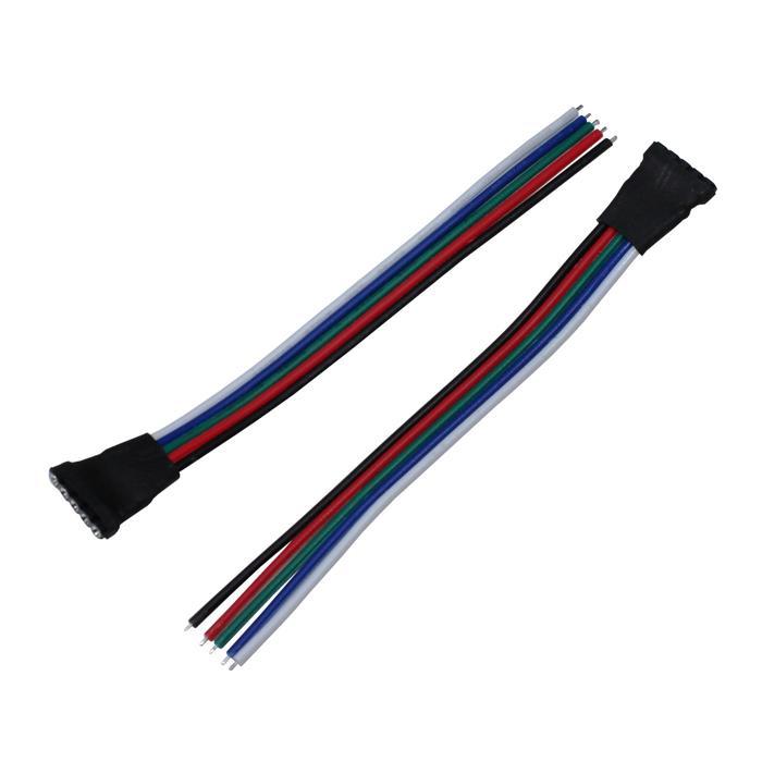 10cm RGBW LED Steckverbinder mit Kabel Schnellverbinder 5 Pin Buchse -> offene Kabelenden