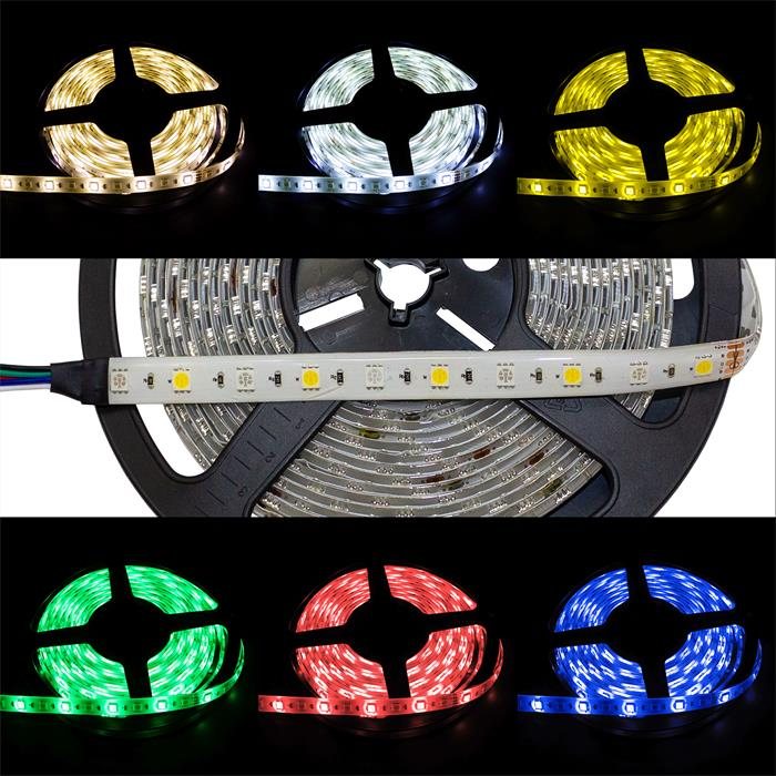 5m (500cm) RGBWW 3000K LED Streifen Band Leiste 24V IP65 300LEDs 60LED/m SMD5050