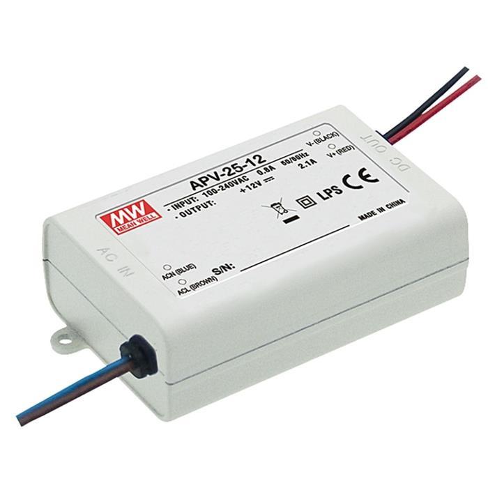 LED Netzteil 25W 12V 2,1A ; MeanWell, APV-25-12 ; Schaltnetzteil
