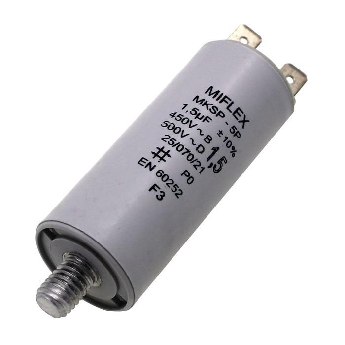 Anlaufkondensator Motorkondensator 1,5µF 450V 25x58mm Stecker 6,4x0,8mm Miflex 1,5uF