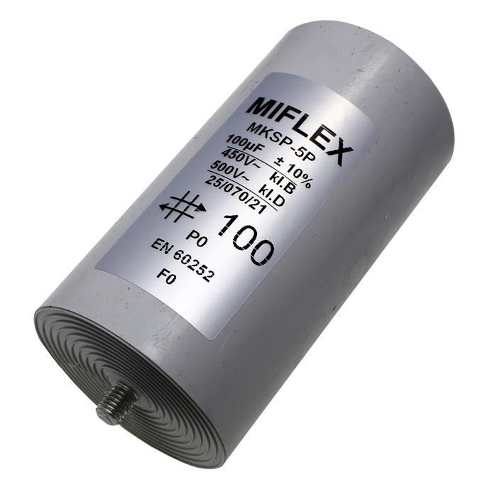 Anlaufkondensator Motorkondensator 100µF 450V 65x119mm Stecker 6,4x0,8mm Miflex 100uF