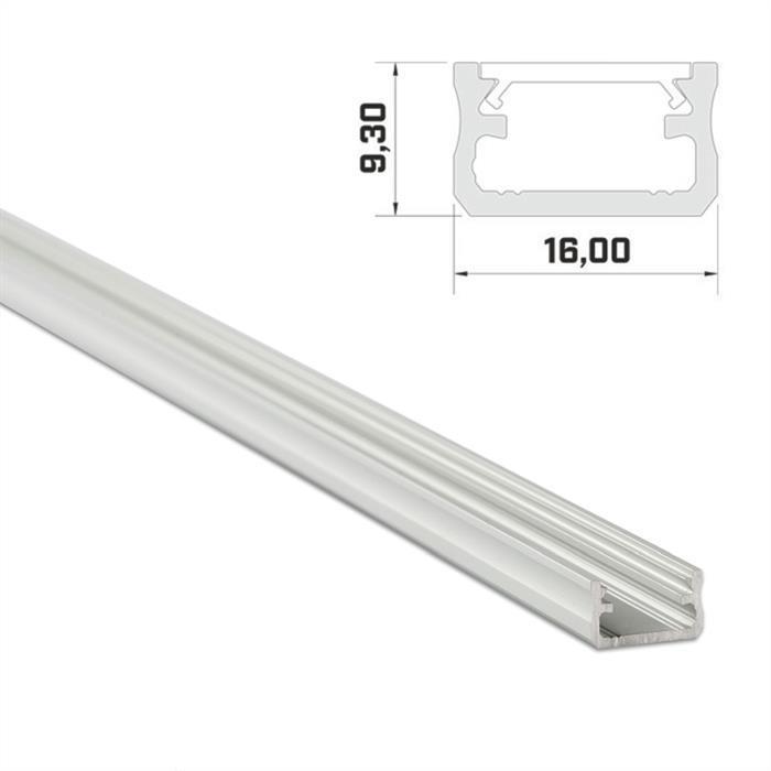 LED Aluminium Profil 1m 16x9mm ; Alu Schiene für LED Streifen ; Silber
