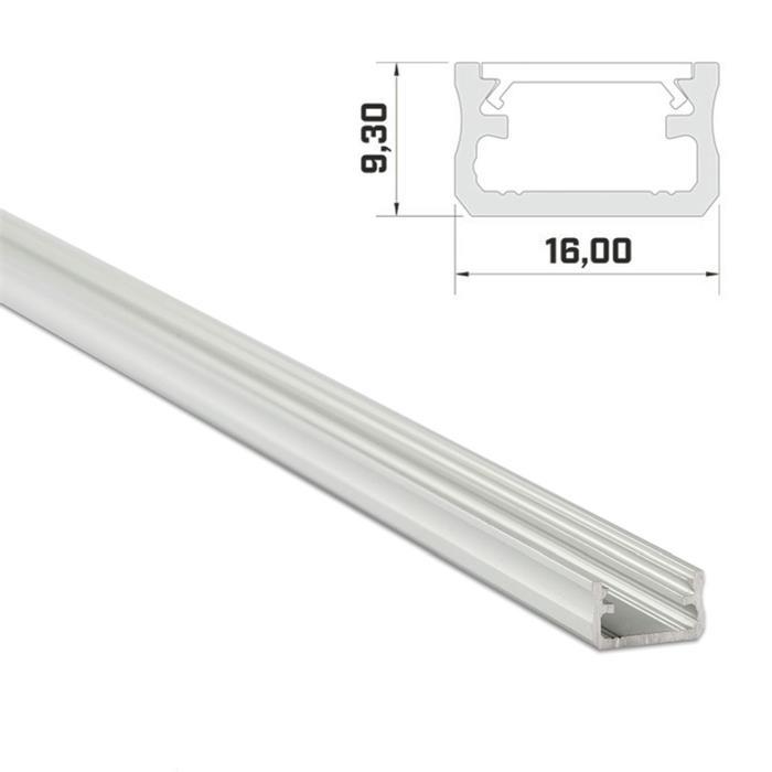 1m LED Profil A Silber 16x9,3mm Aluminium Aufbauprofil für 12mm LED Streifen