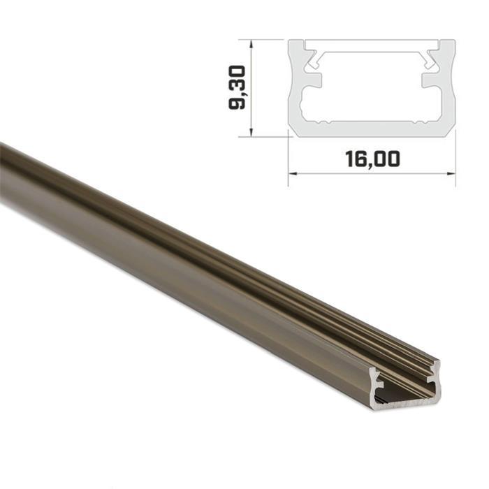 1m LED Profil A Inox 16x9,3mm Aluminium Aufbauprofil für 12mm LED Streifen