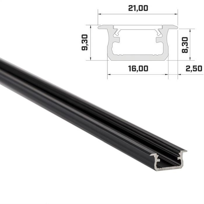LED Aluminium Profil 1m 16x9mm ; Alu Schiene für LED Streifen ; Schwarz