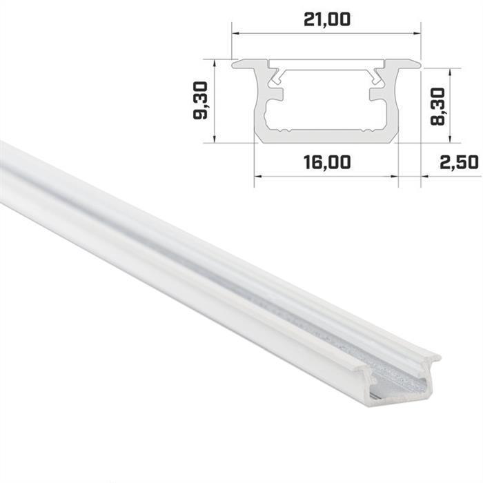 LED Aluminium Profil 1m 16x9mm ; Alu Schiene für LED Streifen ; Weiß