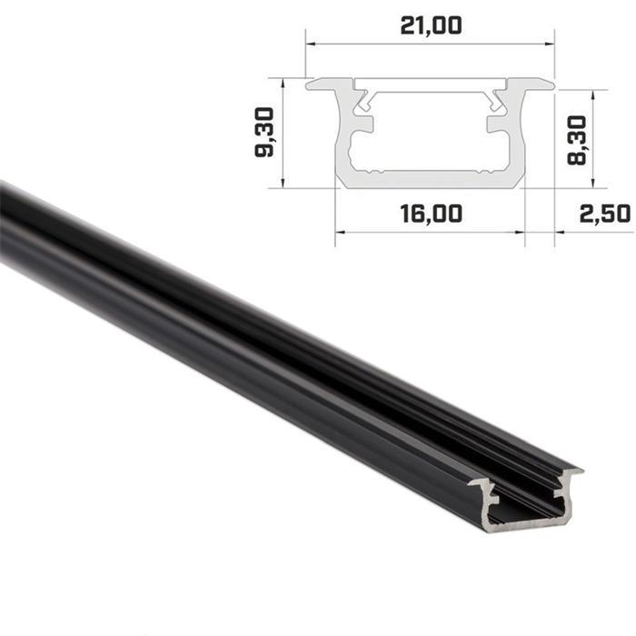 1m LED Profil B Schwarz 21x9,3mm Aluminium Einbauprofil für 12mm LED Streifen