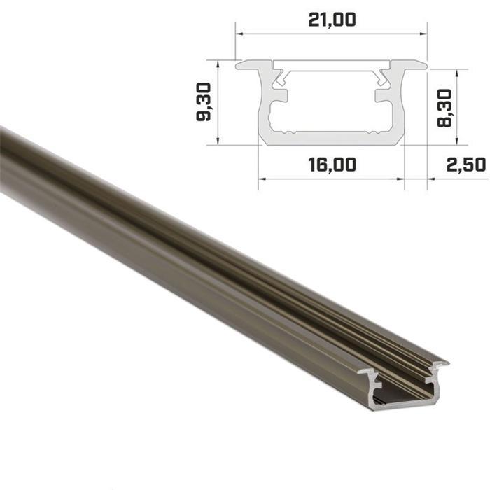1m LED Profil B Inox 21x9,3mm Aluminium Einbauprofil für 12mm LED Streifen
