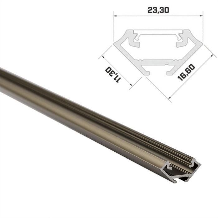 LED Aluminium Profil 1m 23mm 45° Eckprofil Alu Schiene für LED Streifen ; Inox