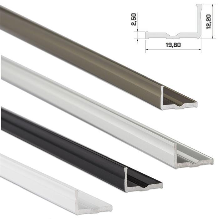 LED Aluminium Profil 1m 20x9mm (Typ E) ; Alu Schiene für LED Streifen