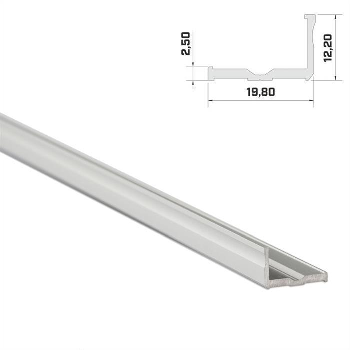 LED Aluminium Profil 1m 20x9mm ; Alu Schiene für LED Streifen ; Silber