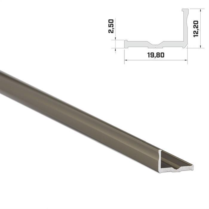 LED Aluminium Profil 1m 20x9mm ; Alu Schiene für LED Streifen ; Inox