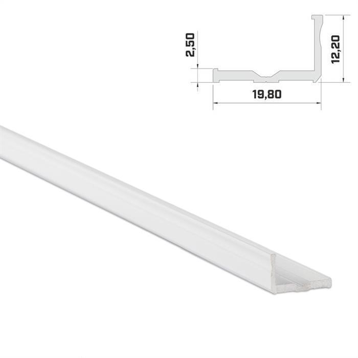 LED Aluminium Profil 1m 20x9mm ; Alu Schiene für LED Streifen ; Weiß