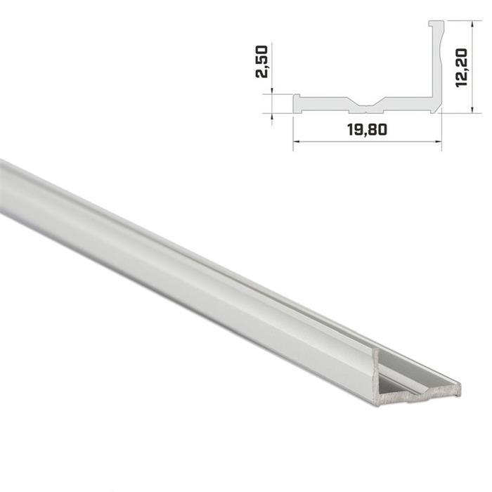 1m LED Profil E Silber 19x12mm Aluminium Aufbauprofil für 16mm LED Streifen