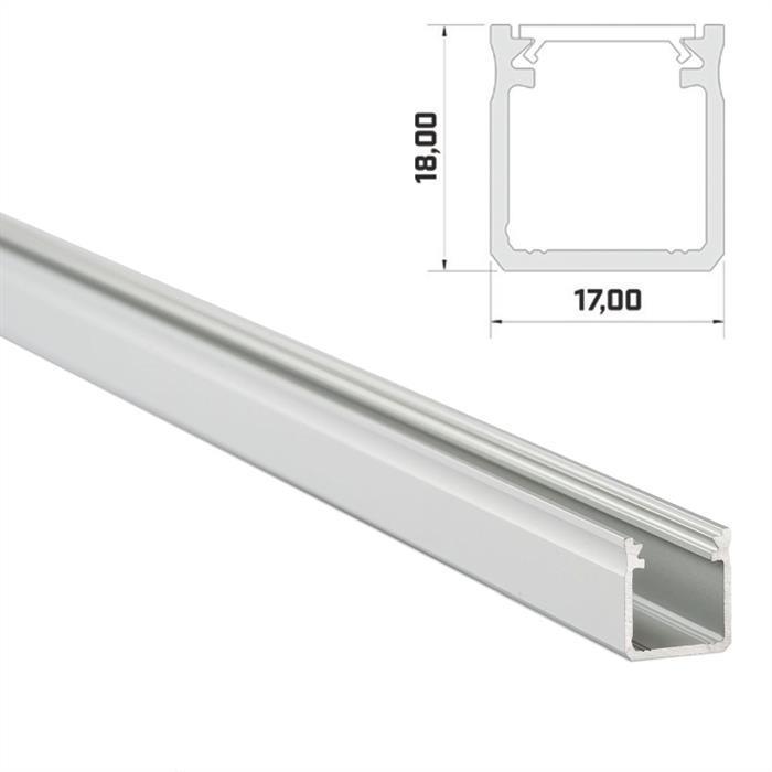 1m LED Profil Y Silber 17x18mm Aluminium Aufbauprofil für 12mm LED Streifen